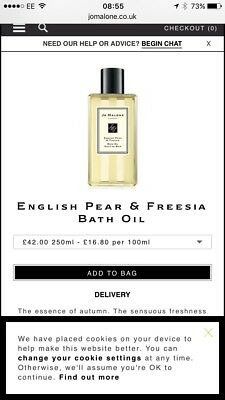 Jo Malone English Pear Freesia Bath Oil Tub 250ml Size