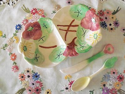 AVON WARE VINTAGE Floral Design Divided Dish + Matching Knife & Spoon