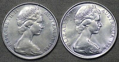 Pair of Uncirculated 1966 Silver 50c coins, Most definately NOT Scrap. Lot1