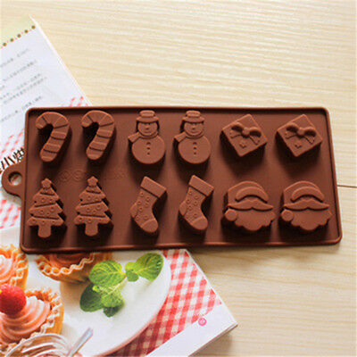 12in1 Cute Christmas Silicone Mold Ice Cube Candy Chocolate Fondant Tray Moulds