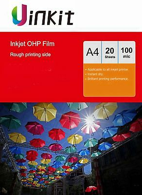 OHP Film A4 Overhead Projector Acetate Transparent For Inkjet Ink - 20 Sheets