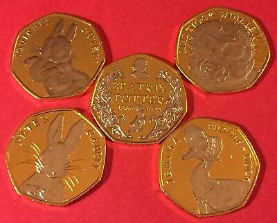 Beatrix Potter 24ct Gold Plated with Rhodium -  5 COIN'S C.O.A