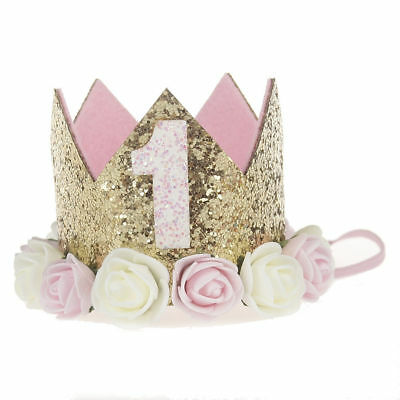 Baby Girl First Birthday Party Hat Flower Princess Crown Decor Hair Accessory