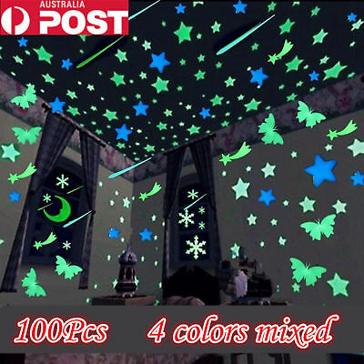 100 pcs Luminous  Wall Stickers Home Room Decor Glow In The Dark Decal  gifts
