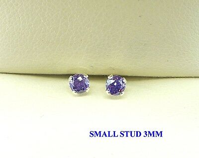AMETHYST SILVER STUD EARRINGS PURPLE  - ROUND 3mm CREATED DEEP AMETHYST STUD