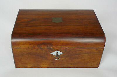 Antique French Domed Rosewood Sewing / Work Box with key & Contents