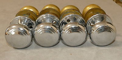 Hardware Door Knob Handles Antique Vintage 1950s Rings Brass Chrome 2pc Lot of 4
