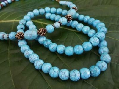 60 pce Turquoise Synthetic Howlite Gemstone Round Beads 8mm Jewellery Making