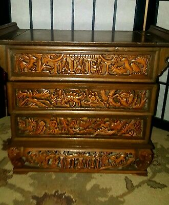 Chinese Wood Hand Carved Antique Jewelry Box Chippendale/Oriental w/Drawers