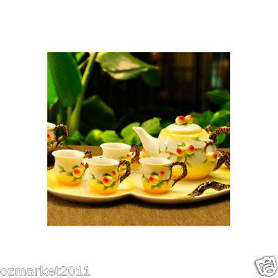High Grade Classical Household Porcelain Tea Tray/TeaPot/Teacup Tea Set 8Pcs