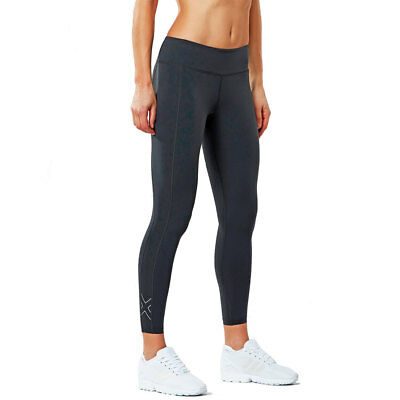 2XU Active Womens Compression Tight Dark Charcoal/Geo Director Blue