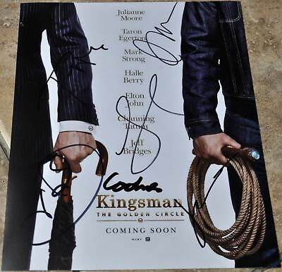"""Kingsman The Golden Circle Multi Signed 10""""x 8"""" Photo Halle Berry , Julianne +3"""