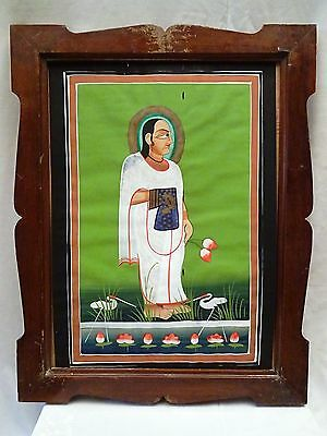 Old Antique Painting Hand Made Water Color Indian Hindu Lord Mahaprubhuji Framed