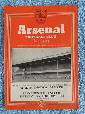 1953 - WALTHAMSTOW AVE v MANCHESTER UTD PROGRAMME - FA CUP 4TH ROUND REPLAY