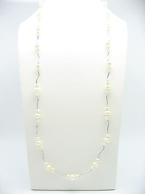 """925 Silver 35"""" 90cm Triple Round Cultured Freshwater Pearl Chain Necklace Gift"""