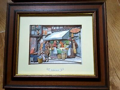 Set of 6 Wooden Framed 3D Decoupage Pictures Kitchen Bakers Victorian Era