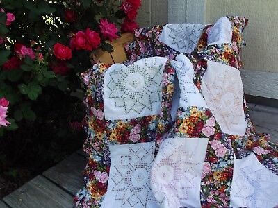 New Handmade Baby Quilt - Floral and Cross Stitch Design