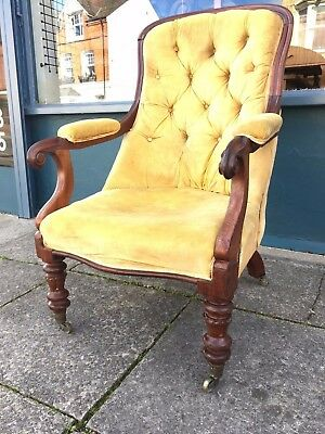 William IV mahogany button back library armchair #1511