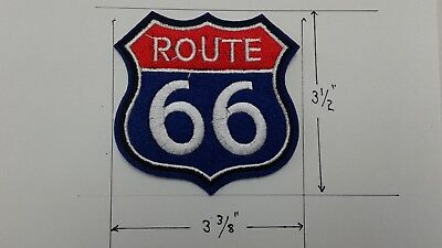 "1 pc Red/Blue Route 66 emb patch sew/iron-on H.3-1/2"" W.3-3/8"