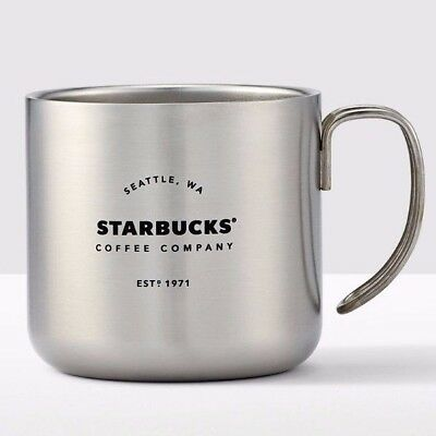 Silver Starbucks Stainless steel Coffee Company Handle Mug 12 Oz. Camp Life New