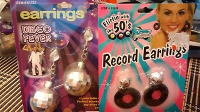 set of 2/disco fever and record earings/new.