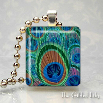 PEACOCK FEATHERS EXOTIC BIRD Scrabble Tile Altered Art Pendant Jewelry Charm
