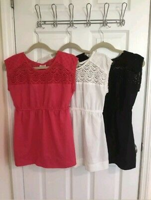 Motherhood Maternity Lot Sz Small Cotton Empire Elastic Waist Crochet Tops Shirt