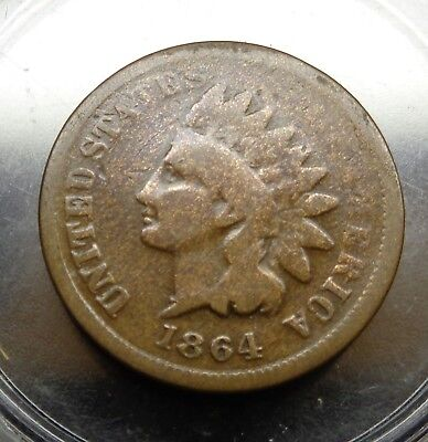 """VERY nice original 1864 pointed bust """"L"""" indian head 1C cent bronze penny"""