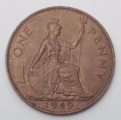 Dated : 1949 - One Penny - Copper Coin - King George VI - Great Britain