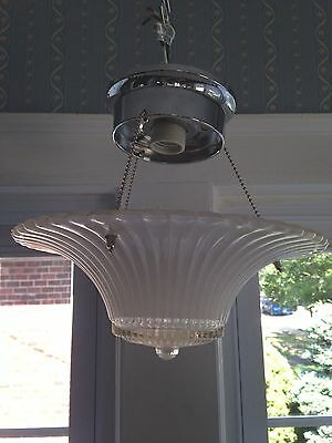 Vintage White/Clear Glass Ceiling Lamp/Light Fixture/Shade Art Deco Retro