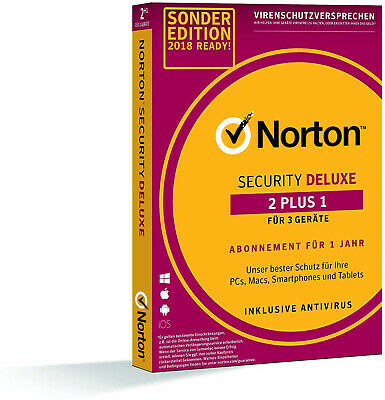 NORTON SECURITY DELUXE (2017 / 2018) 2+1= 3-Geräte / 1-Jahr PC/Mac/Android - BOX