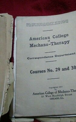 Vintage medical booklet & Diagram  American College Mechano Therapy 1913 antique