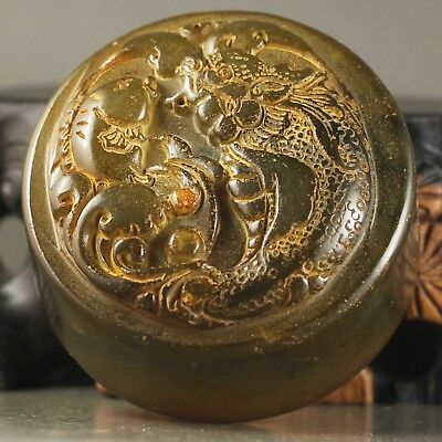 Chinese old natural Jade hand-carved statue dragon jade seal NO.A408