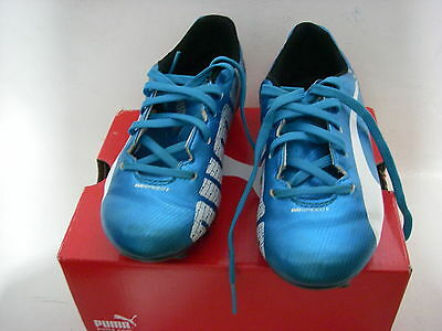 Puma EVOSPEED soccer shoes junior 12.5 Hawaiian Ocean blue & white cleats