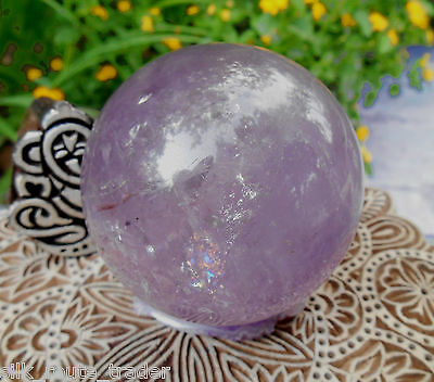 AA++ AMAZING HIMALAYAN RAINBOW AMETHYST SPHERE / BALL FROM INDIA.470 grams 69 mm