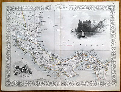 ISTHMUS OF PANAMA, CENTRAL AMERICA, JOHN RAPKIN Original antique map c1850