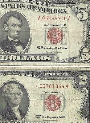 1963 $5 Red Seal & 1953C $2 *STAR* 2 Notes! Old US Paper Money!