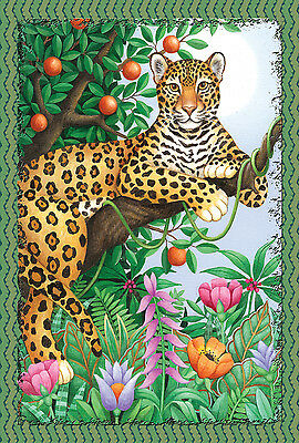 "New Toland Garden Flag Lounging Leopard - Beautiful  Flag! 12.5"" X 18"""