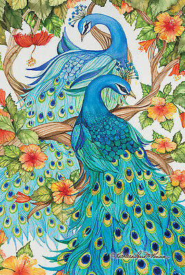 New Large Toland Flag Precious Peacocks  Beautiful 28 X 40 Made In The Usa