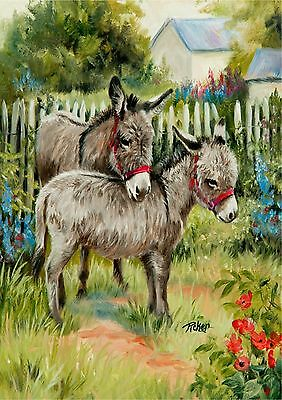 New Large Toland Flag Backyard Burros Donkeys So Cute! 28 X 40 Made In The Usa