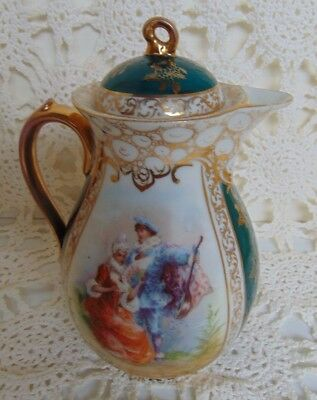 Antique Hand Painted Gilded Teapot Porcelain Made In Austria Signed Trademarked