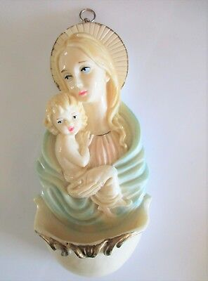 Vintage Holy Water Font / Madonna & Child Resin Wall Plaque, Italy, #600/270