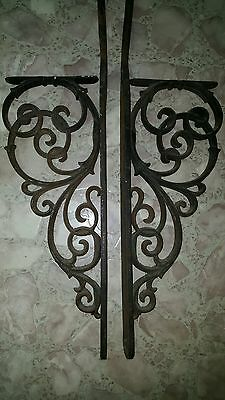 Rare Antique Pr Cast Iron Ornate Victorian Architectural Figural Brackets Gallow