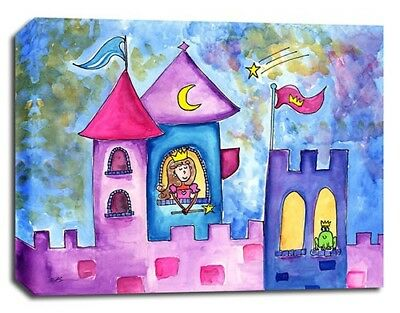 Princess Frog Castle, Prints or Canvas Wall Art Decor, Kids Bedroom Baby Nursery