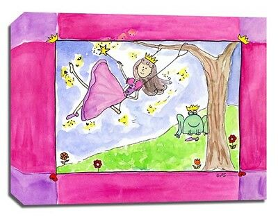 Princess Frog Swing, Prints or Canvas Wall Art Decor, Kids Bedroom Baby Nursery