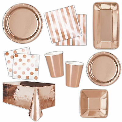 Rose Gold Metallic Foil Party Tableware Plates Napkins Cups Straws Decorations