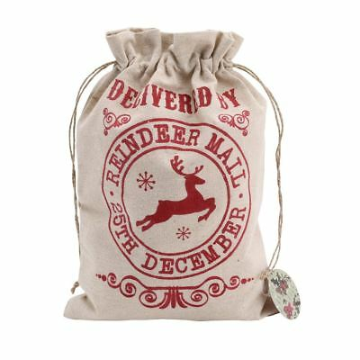 Delivered By Reindeer Mail Small Christmas Canvas Gift Bag