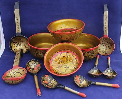 Set Of Vintage Russian Lacquer Folk Art - Hand Painted Wood Bowls, Ladles, Spoon