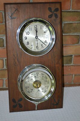 "Chelsea 8 day Nickel Plated  Clock & Barometer 6"" face Mounted on Nautical Board"