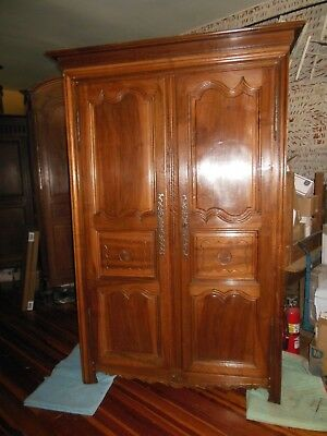 "Majestic Antique French Walnut & Oak Armoire Beautiful Wood H 93"" x W 57"" 1850's"